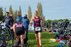 Triathlonereignis Hever-Schloss Großbritannien Sept. 23. 2017 Lizenzfreie Stockfotografie