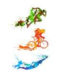 Triathlonuppsättning Färgstänkmålarfärgkonturer royaltyfri illustrationer