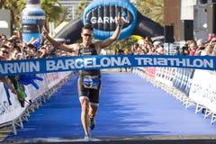 Triatlon Barcelona die - lopen Royalty-vrije Stock Afbeelding