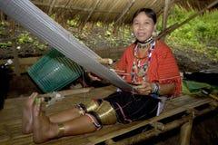 Tribù asiatica della collina con i grandi orecchini fotografia stock libera da diritti