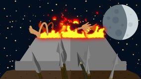 Tribù primitiva e un sacrificio umano su una notte della luna piena royalty illustrazione gratis