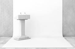 Tribüne-Podiums-Stand mit Mikrophonen im Studio-Raum 3d übertragen Stockbilder