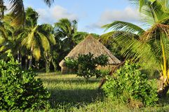 Tribal aboriginal hut in Ouvea Island,  New Caledonia. Tribal kanak aboriginal hut. Nouvelle Caledonie Stock Photos