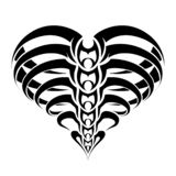 Tribal abstract skeleton and ribs heart tattoo design. Black and white vector illustration.