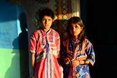 Tribal Adolescent. Rann of kutch,India,Asia-Two adolescent girl in their traditional hut at the remote village of Gujarat Royalty Free Stock Photo