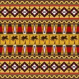 Tribal african pattern with palm trees. Tribal ethnic seamless pattern. Folk abstract geometric repeating background texture. Design of fabric. Wallpaper Stock Photography
