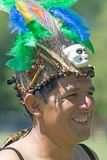 Tribal Anaconda dance. Portrait of a man wearing traditional Peruvian clothing and dancing Anaconda dance, a musical genre typical of Amazon region of Peru Stock Photos