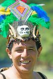 Tribal Anaconda dance. Portrait of a man wearing traditional Peruvian clothing and dancing Anaconda dance, a musical genre typical of Amazon region of Peru Stock Photography