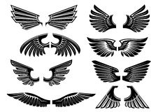 Tribal angel wings for heraldry or tattoo design royalty free illustration