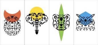 Tribal anima vertical poster, tribal animal vertical vector poster set. Tribal anima vertical poster, tribal animal vertical vector color poster set Stock Image