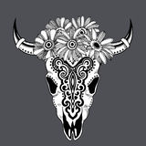 Tribal animal skull illustration with ethnic ornaments Stock Photography