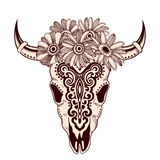 Tribal animal skull illustration with ethnic ornaments Royalty Free Stock Photos