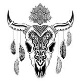 Tribal animal skull illustration with ethnic Stock Images