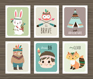 Tribal animals cards royalty free illustration