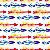 Tribal arrows pattern. Watercolor ethnic seamless background. Fabric design Stock Photos
