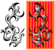 Tribal art. Two variants of one tribal art tattoo Royalty Free Stock Photography
