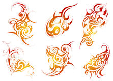 Tribal art. Set of six origianal shapes created in tribal art style Stock Photos