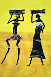 Tribal art. African art tribal, painted on textile material, family mothers and child carry wood Royalty Free Stock Photos