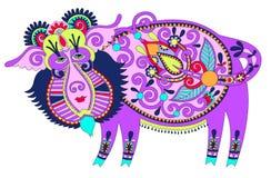 Tribal art in karakoko style, folk ethnic animal - Stock Image