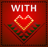 Tribal art with love red heart card Stock Photo