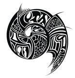 Tribal art shellfish silhouette Stock Photos