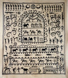 Tribal art on silk from India. Tribal art painted on silk from India Stock Photography