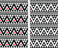 Tribal aztec colorful seamless pattern with hearts. Vector seamless aztec ornament, colorful ethnic print in black and white with red hearts Royalty Free Stock Photos