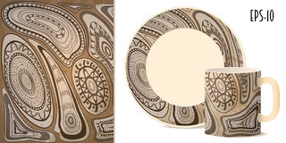 Tribal aztec pattern for dishes. Hand drawn geometric tribal aztec pattern in retro style for decorate kitchenware, cup, dishes, porcelain, stationery. Mock-up Stock Images