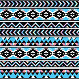 Tribal aztec seamless blue and pink pattern Royalty Free Stock Photo
