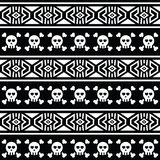Tribal Aztec seamless pattern with skull on black Royalty Free Stock Photo