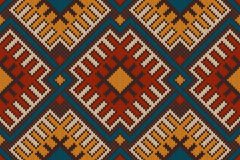 Tribal Aztec seamless pattern on the wool knitted texture Royalty Free Stock Photo