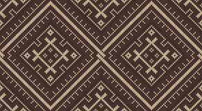 Tribal Aztec seamless pattern on the wool knitted texture Stock Photos
