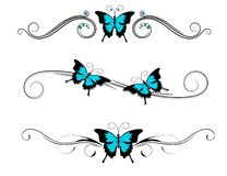 Tribal azul del negro del tatuaje de la mariposa Foto de archivo