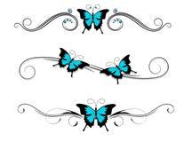 Tribal azul do preto da tatuagem da borboleta Foto de Stock