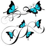 Tribal azul do preto da tatuagem da borboleta Imagens de Stock Royalty Free