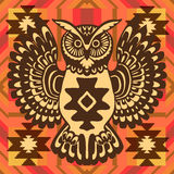 Tribal background with owl Royalty Free Stock Photos