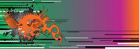 Tribal banner. Text area with dragon design.Useful header or banner concept Royalty Free Stock Photography