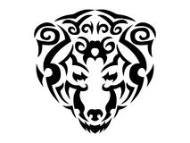 Tribal bear illustration, black animal print for t-shirt Stock Photography