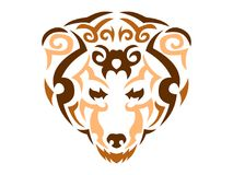 Tribal bear illustration, color animal print for t-shirt royalty free stock photography