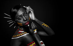 Tribal beauty woman with makeup Stock Photos