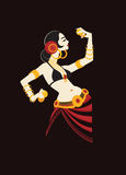 Tribal belly dancer with cymbals holding expressive  Stock Photography