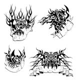 Tribal big cats with labels. Four tattoo with big cats, flame and hand drawn labels for text Royalty Free Stock Images
