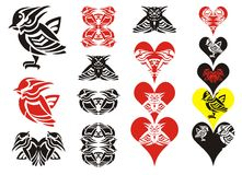 Tribal bird and hearts Stock Photo