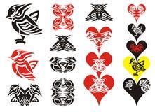 Tribal bird and hearts Stock Photo
