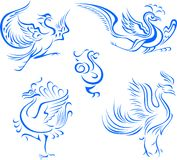 Tribal bird tattoo illustration Royalty Free Stock Images