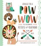 Tribal birthday invitation card Royalty Free Stock Images