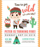 Tribal birthday invitation card Stock Images