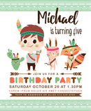 Tribal birthday invitation card Royalty Free Stock Image