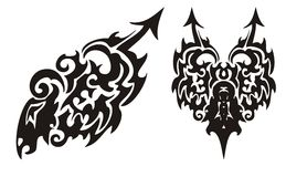Tribal black dragon with an arrow and dragon heart Royalty Free Stock Image