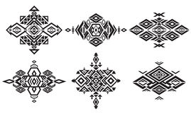 Tribal black element patterns on white background Stock Photo